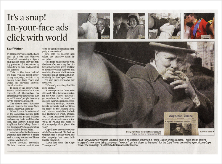 """It's a snap!  More about our """"Selfies"""" campaign for the Cape Times."""